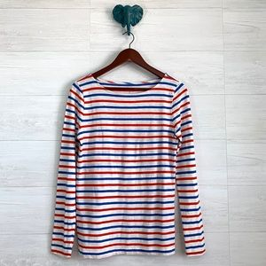 J Crew Painter Red Blue Striped Boat Neck Tee